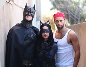 """With Cat Woman and a 'villian' in """"Alfred's Dark Knight"""""""