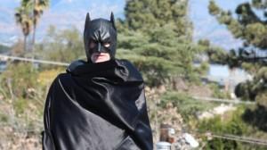 "As Batman in the film ""Alfred's Dark Knight"""